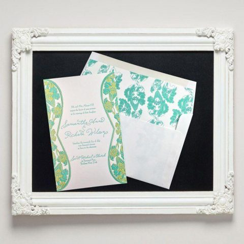 Waterlily Letterpress Wedding Invitations from Letterpress Jess
