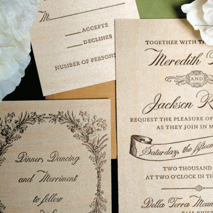 Woodland Letterpress Wedding Invitations Suite