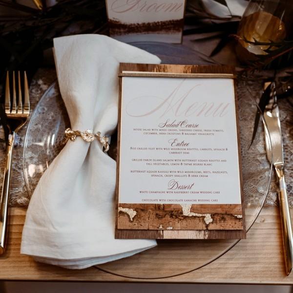 Rosalie Luxury Letterpress Wedding Menu