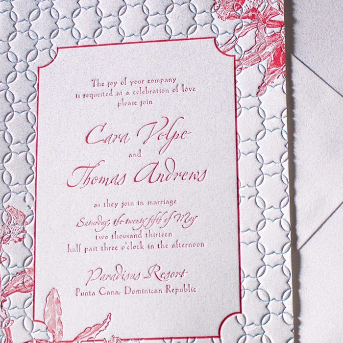 Tropic Letterpress Wedding Invitations Suite   Letterpress Jess