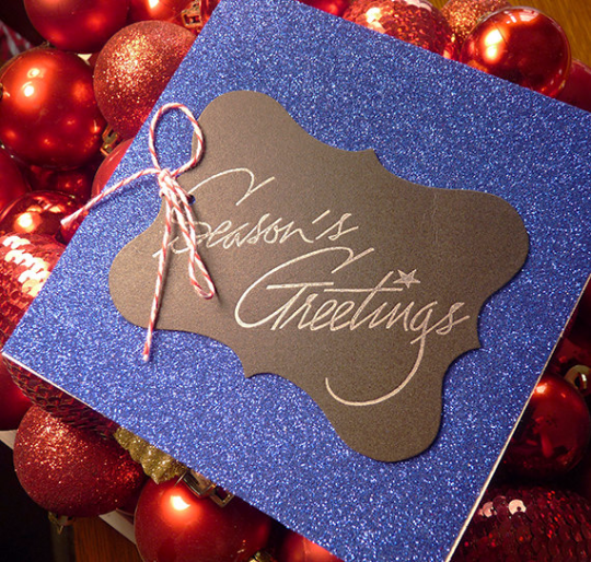 Blue Glitter Season's Greetings Letterpress Holiday Card