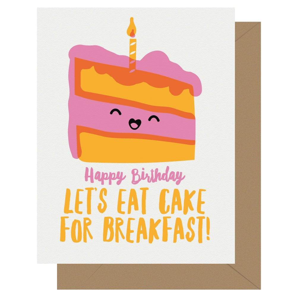 Cake for Breakfast Letterpress Card Cutie Kawaii