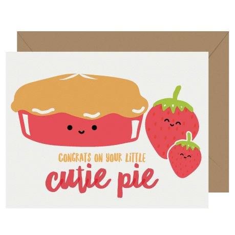 Cutie Pie New Baby Letterpress Card Cutie Kawaii
