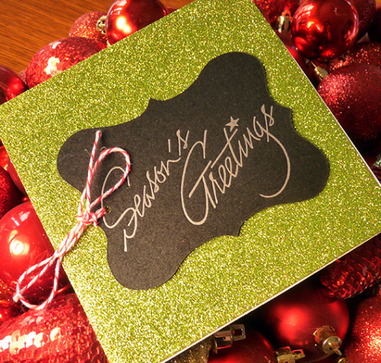 Green Glitter Season's Greetings Letterpress Holiday Card