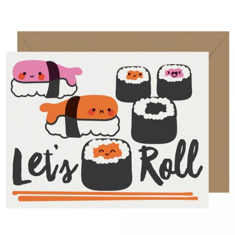 Let's Roll Sushi Letterpress Card Cutie Kawaii