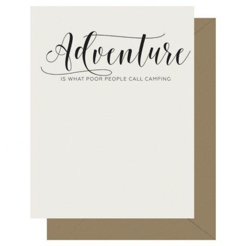 Adventure Crass Calligraphy Letterpress Card