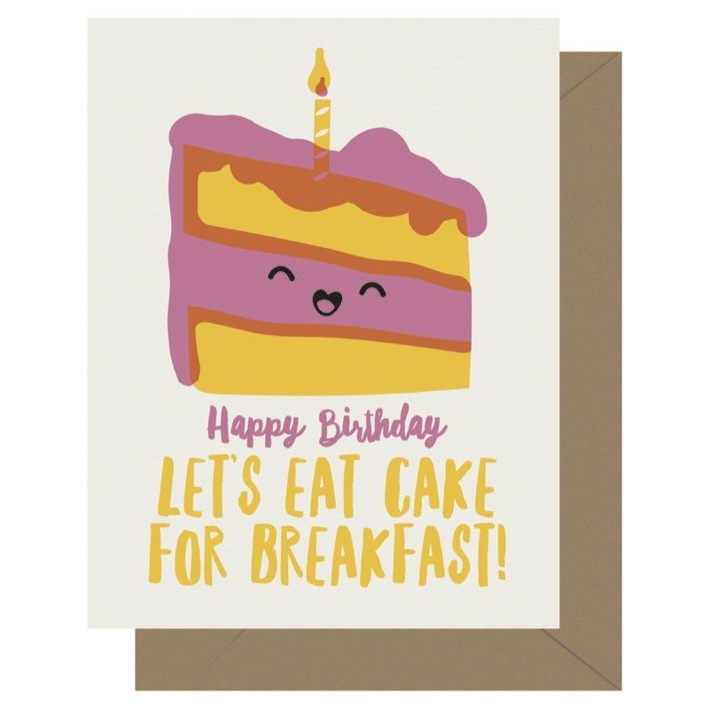 Sensational Cake For Breakfast Birthday Cutie Kawaii Letterpress Greeting Card Funny Birthday Cards Online Fluifree Goldxyz
