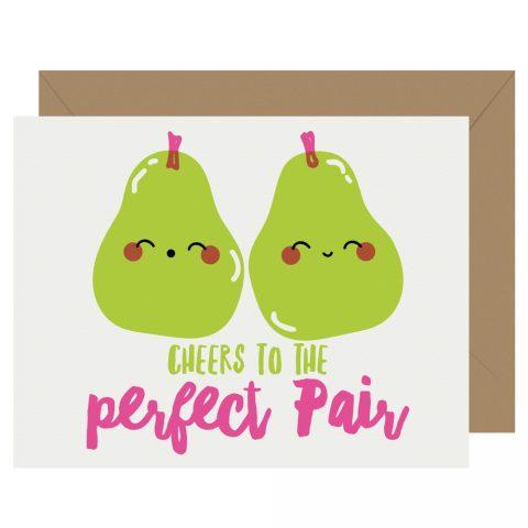 Perfect Pair Wedding Pears Letterpress Card Cutie Kawaii