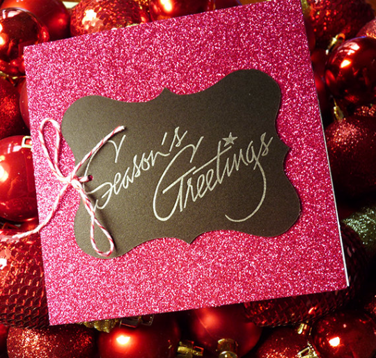 Pink Glitter Season's Greetings Letterpress Holiday Card