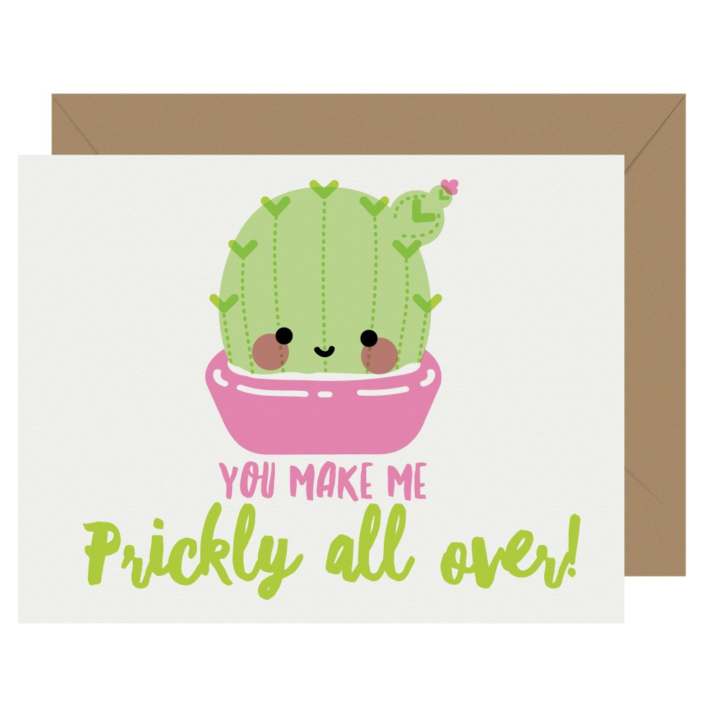 Prickly All Over Cactus Letterpress Card Cutie Kawaii
