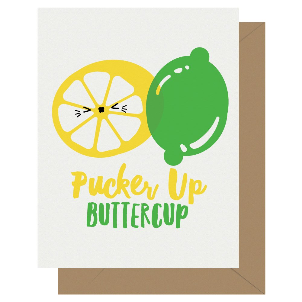 Pucker Up Buttercup Lime Lemon Letterpress Card Cutie Kawaii