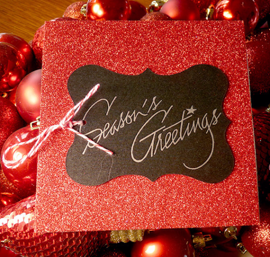 Red Glitter Season's Greetings Letterpress Holiday Card