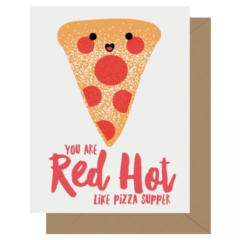 Red Hot Like Pizza Letterpress Card Cutie Kawaii