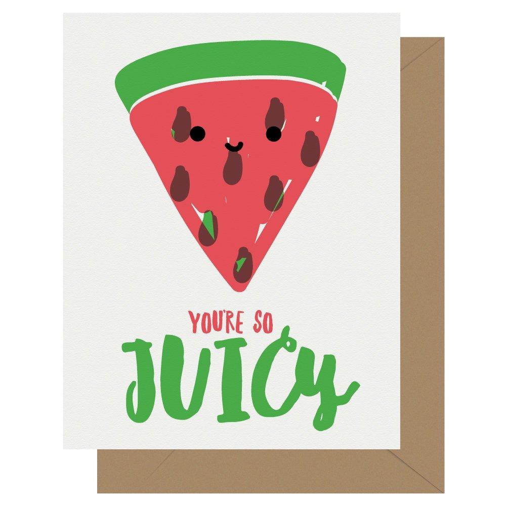 So Juicy Watermelon Letterpress Card Cutie Kawaii