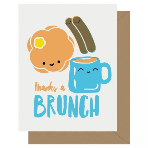 Thanks a Brunch Letterpress Card Cutie Kawaii