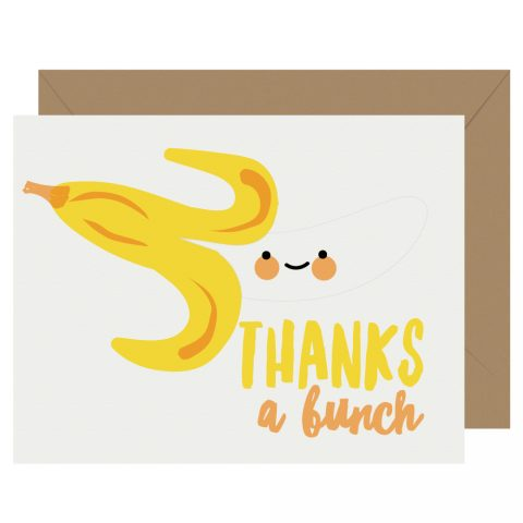 Thanks a Bunch Banana Letterpress Card Cutie Kawaii