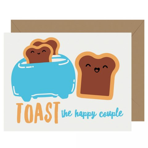 Toast the Couple Letterpress Card Cutie Kawaii