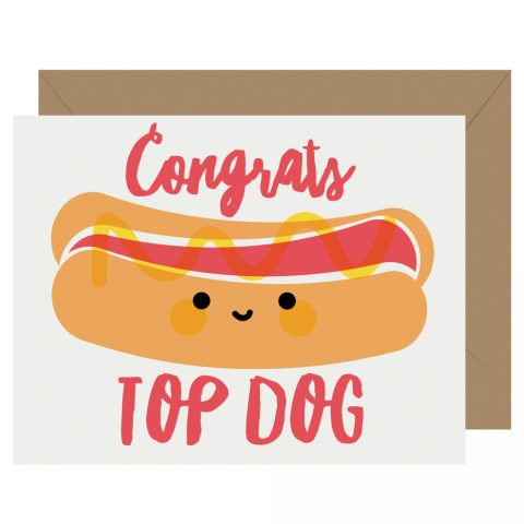 Congrats Top Dog Hot Dog Letterpress Card Cutie Kawaii