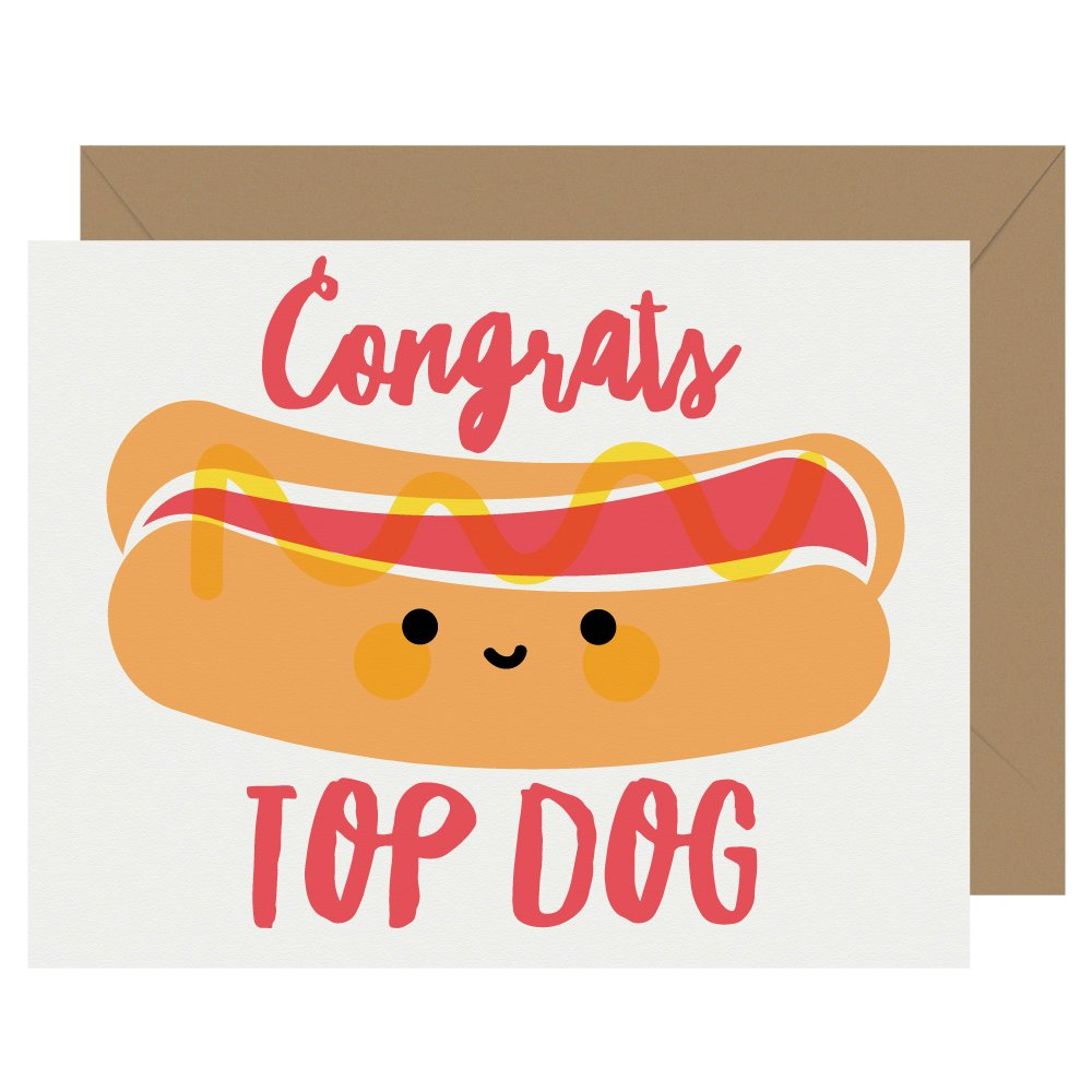 Congrats Top Dog Hot Dog Letterpress Card Cutie Kawaii