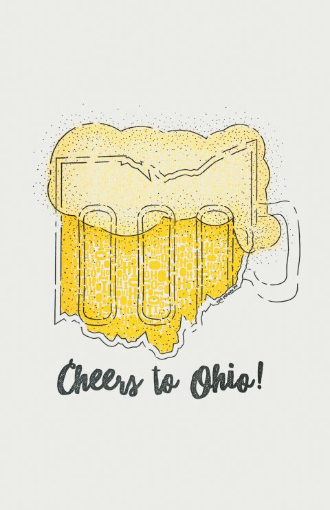 Cheers to Ohio Letterpress Art Print