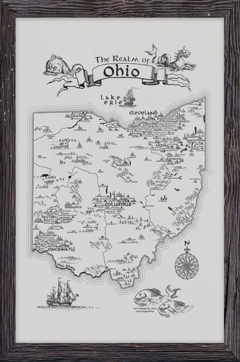 Realm of Ohio Letterpress Art Print