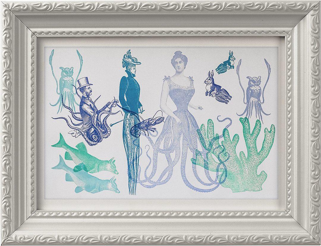 Victorian Squidfolk letterpress art print