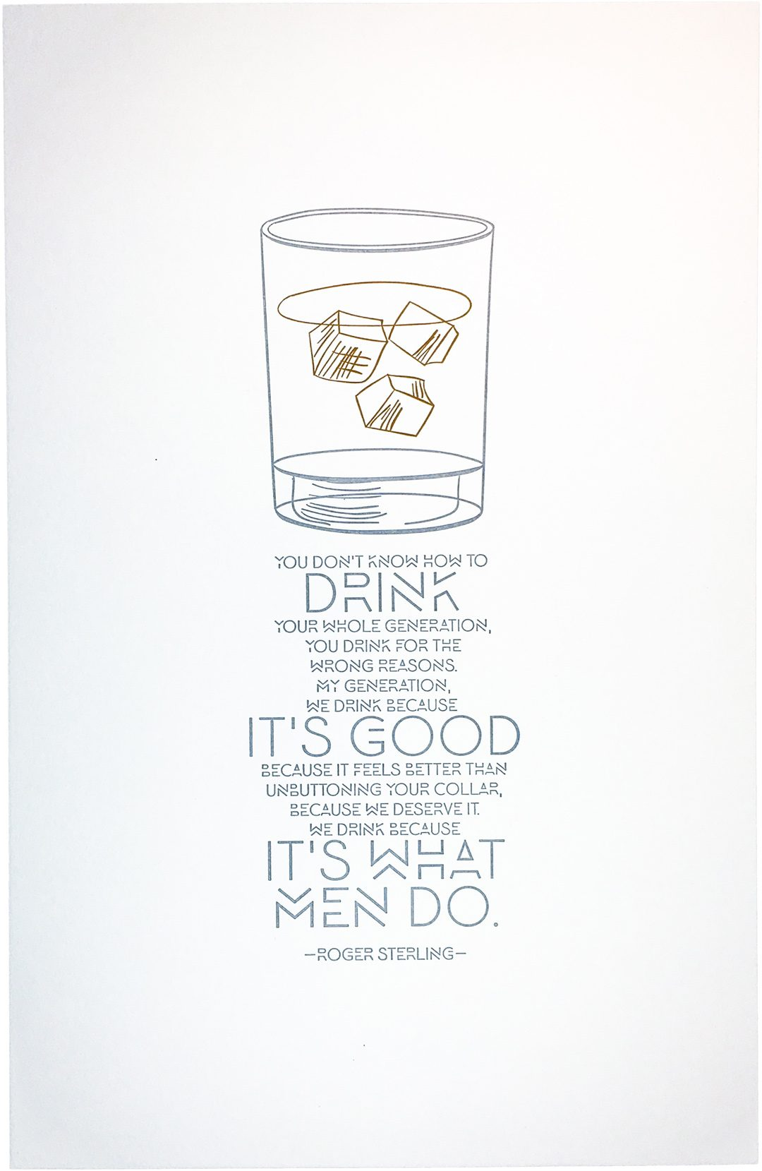 Mad Men Roger Sterling Letterpress Art Print