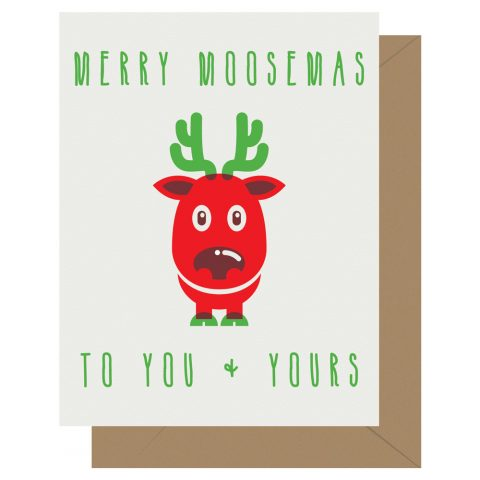 Merry Moosemas letterpress holiday card from Letterpress Jess