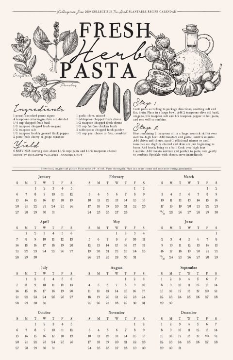 Letterpress Pasta Recipe Plantable Wall Calendar