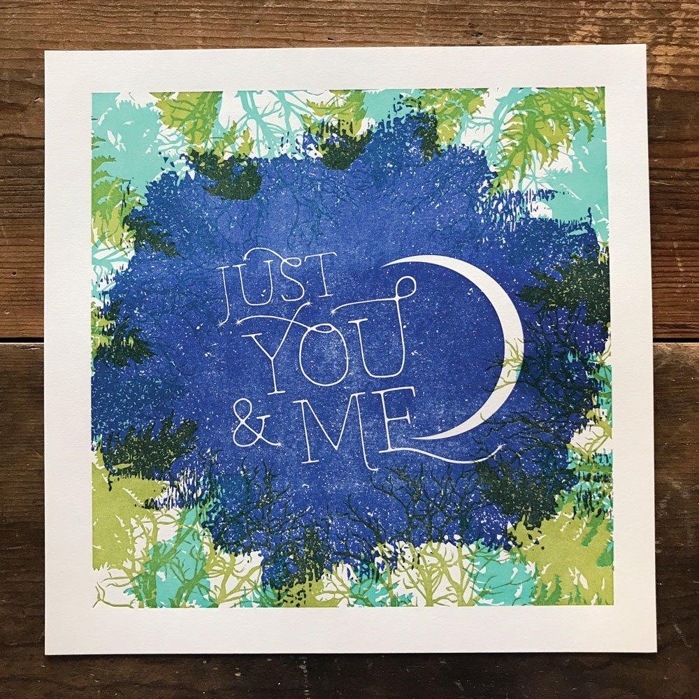 Just You & Me Night Sky Constellation Letterpress Art Print