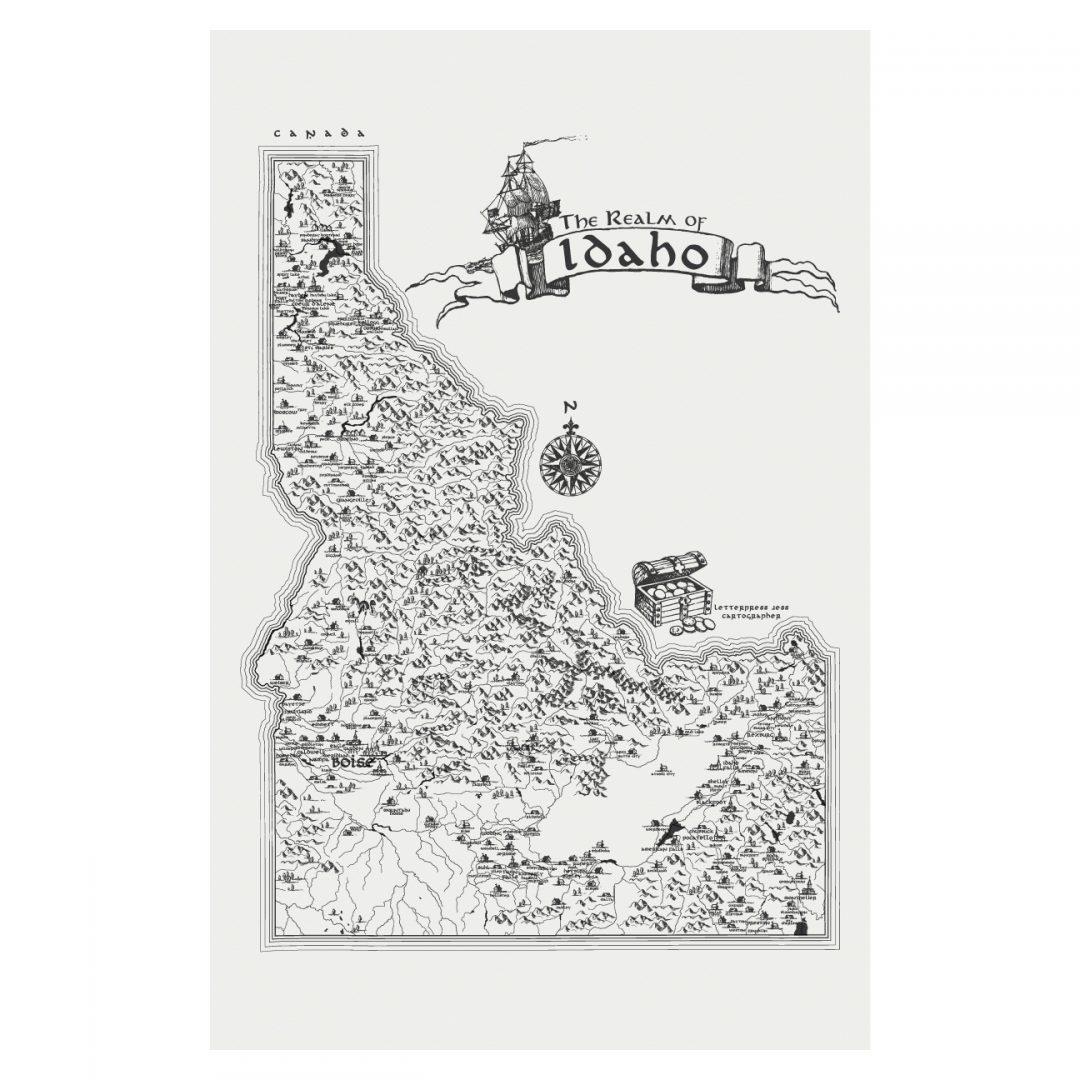 Letterpress Jess Realm of Idaho Art Print