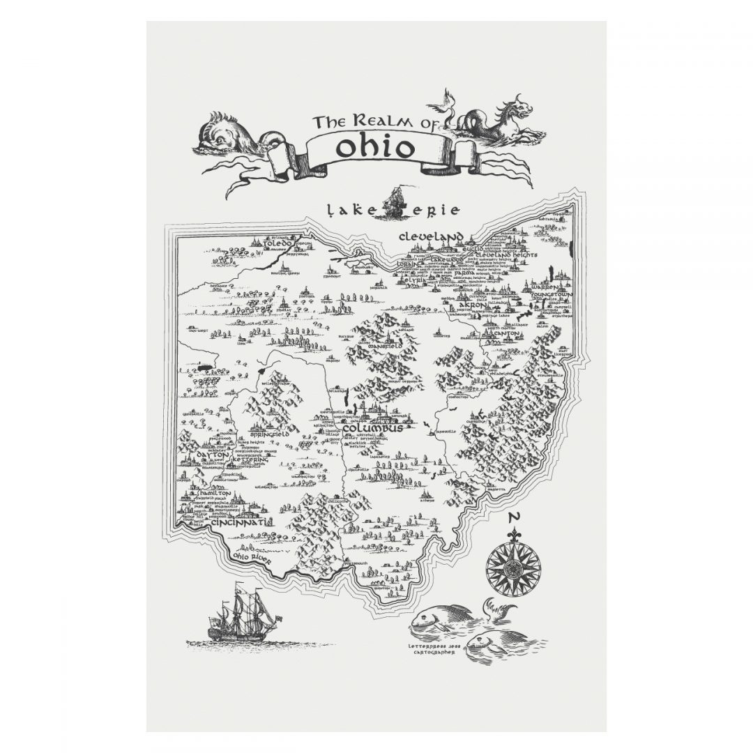 Letterpress Jess Realm of Ohio Art Print