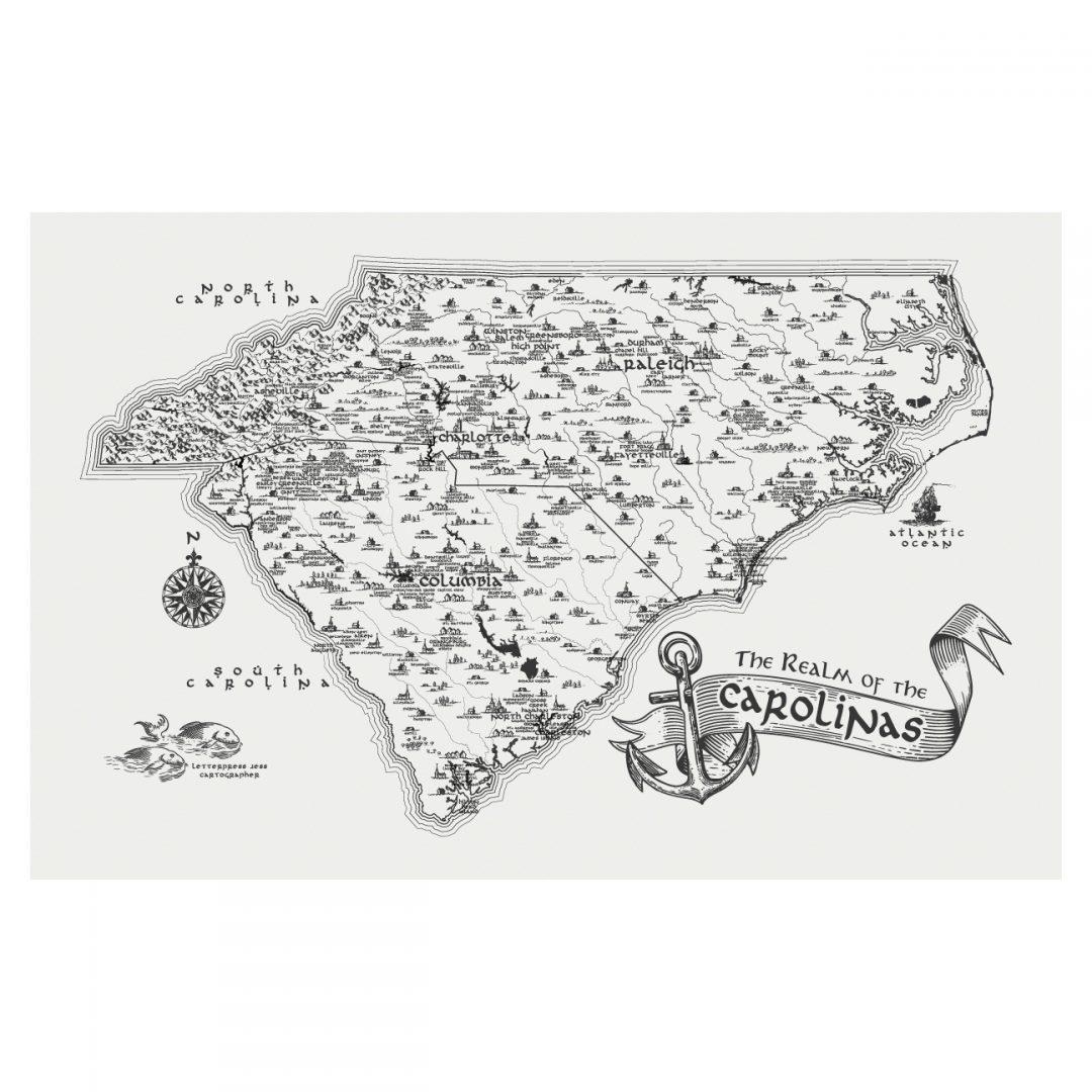 Letterpress Jess Realm of The Carolinas Art Print