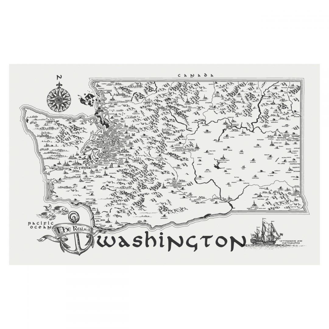 Letterpress Jess Realm of Washington Art Print