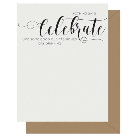 Celebrate Crass Calligraphy Letterpress Card