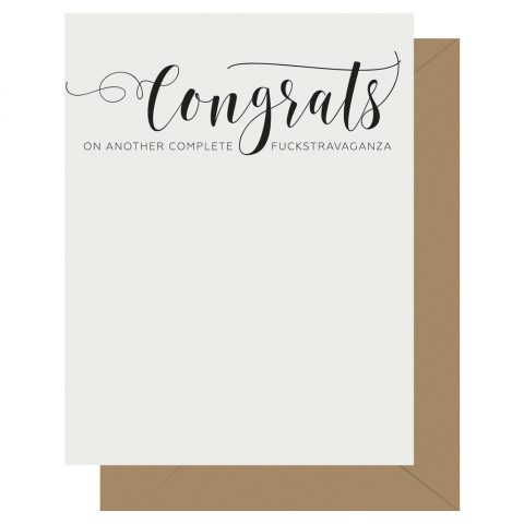 Congrats Crass Calligraphy Letterpress Card