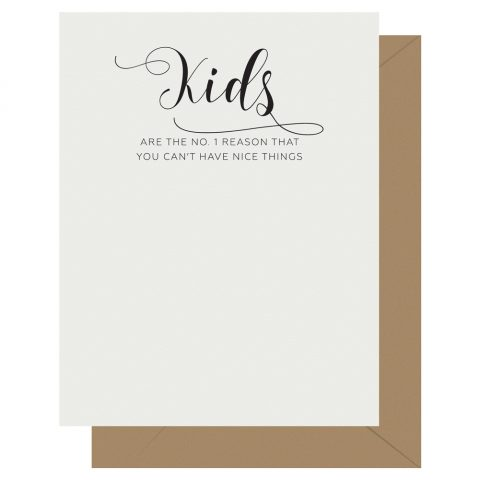 Kids Crass Calligraphy Letterpress Card