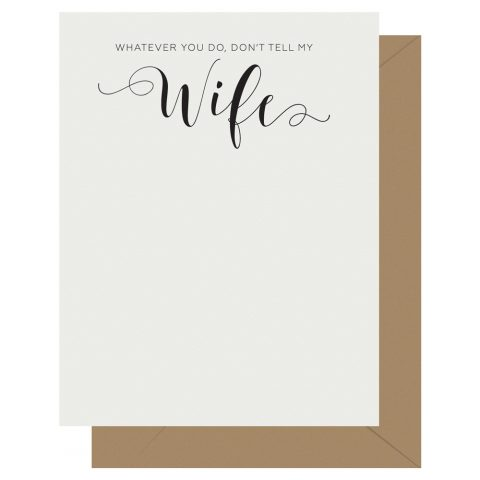 Wife Crass Calligraphy Letterpress Card