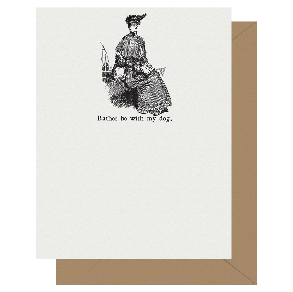 With My Dog Gibson Girl Letterpress Card