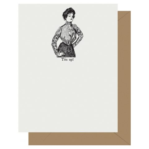 Tits Up! Gibson Girl Letterpress Card