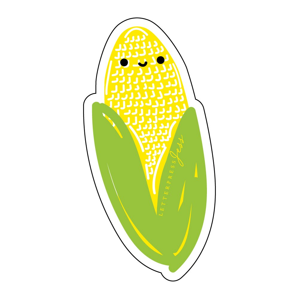 Corn-Cutie-Kawaii-Sticker-Letterpress-Jess