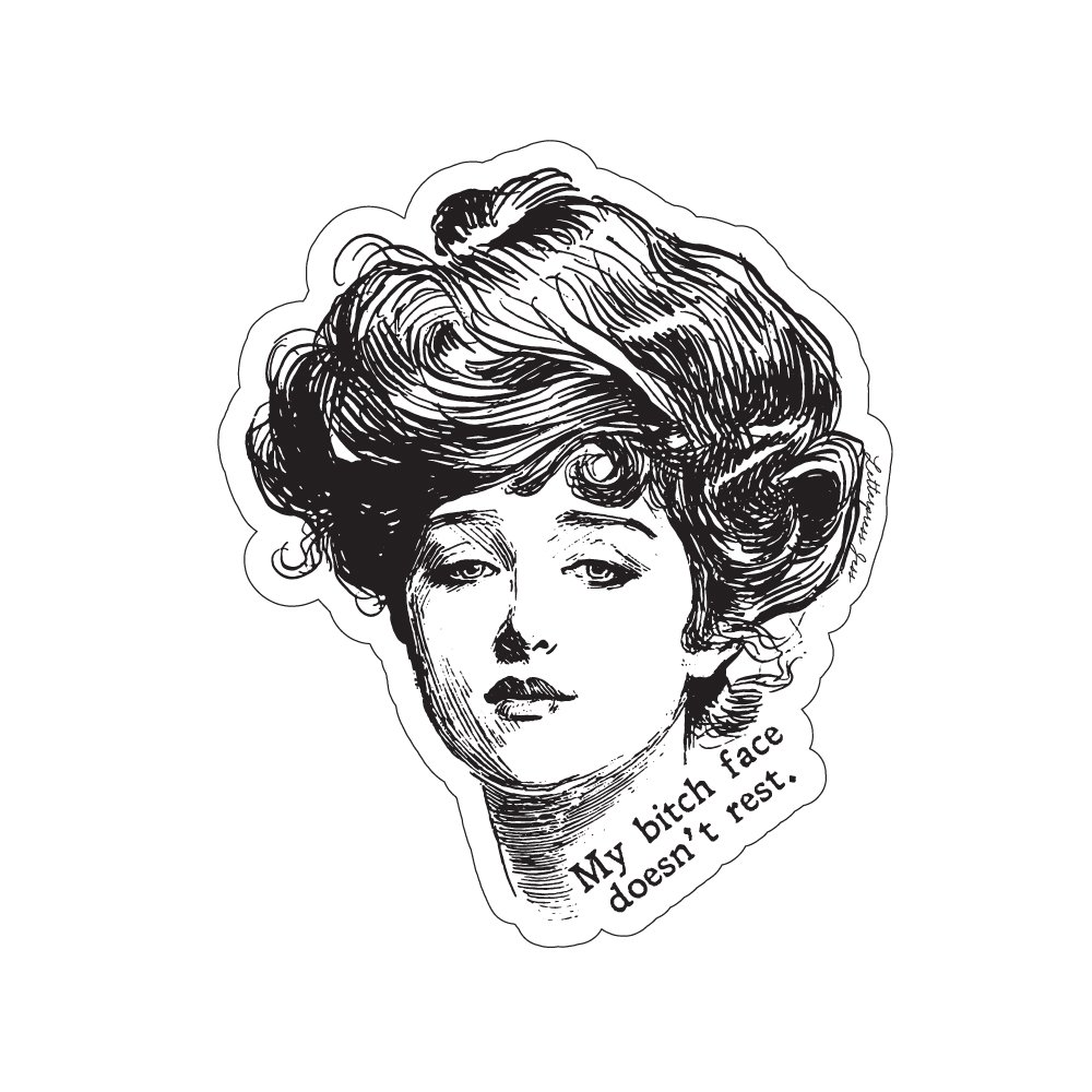 My-Bitch-Face-Doesn't-Rest-Gibson-Girl-Sticker