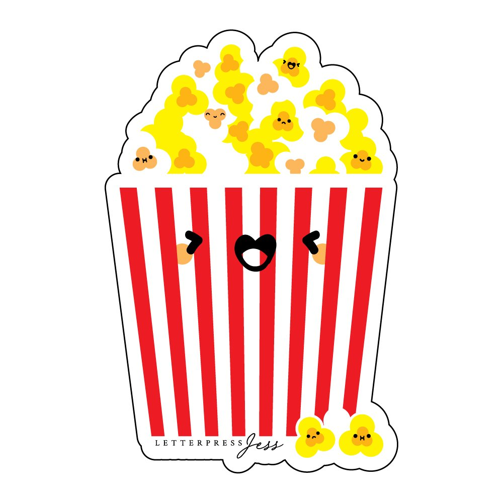 Popcorn-Cutie-Kawaii-Sticker-Letterpress-Jess