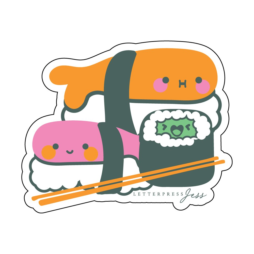 Sushi-Cutie-Kawaii-Sticker-Letterpress-Jess