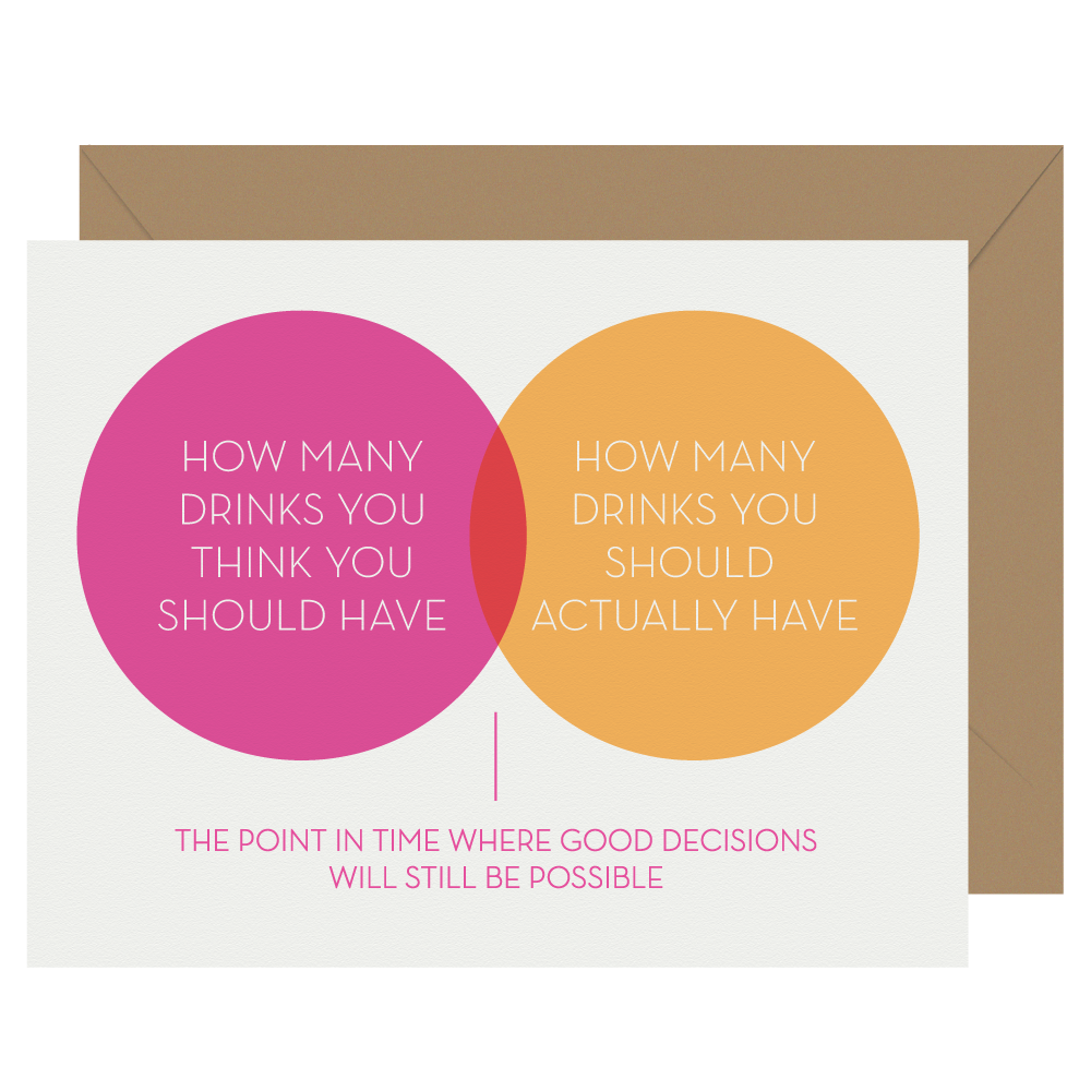 Good decisions Venn diagram letterpress greeting card
