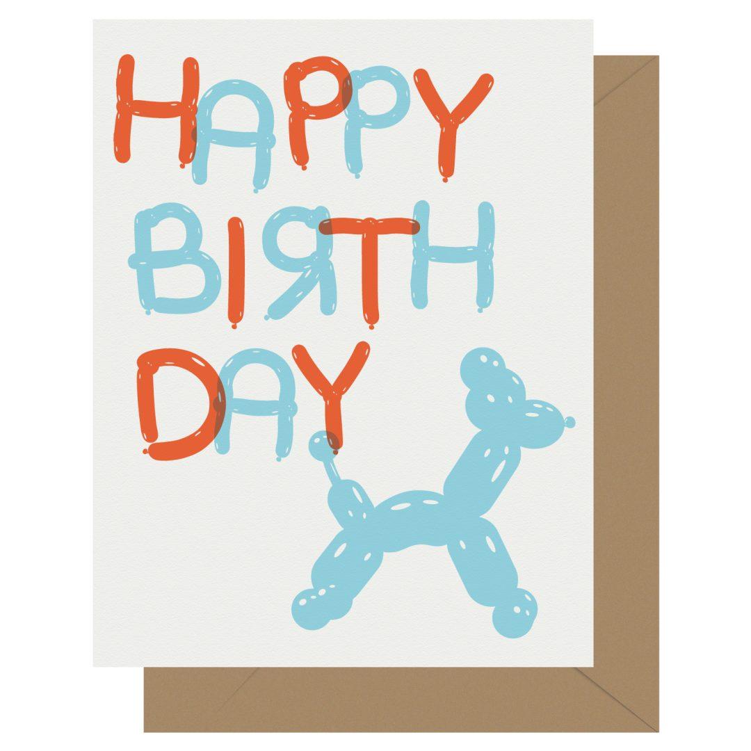 Happy Birthday Balloon Animal Letterpress Jess