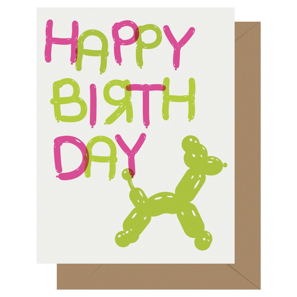 Happy Birthday Balloon Animal Letterpress Birthday Card