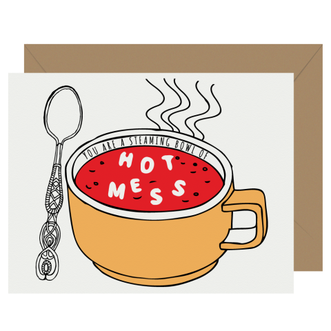 Hot mess alphabet soup letterpress greeting card