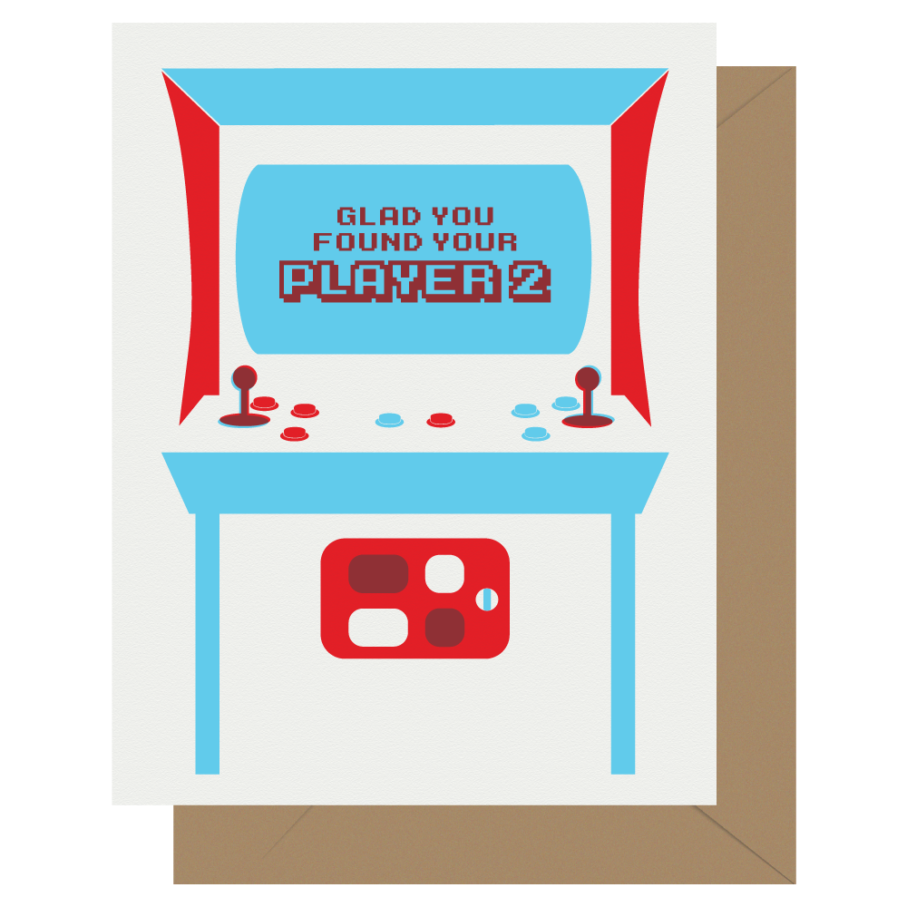 Player 2 Arcade Game letterpress greeting card