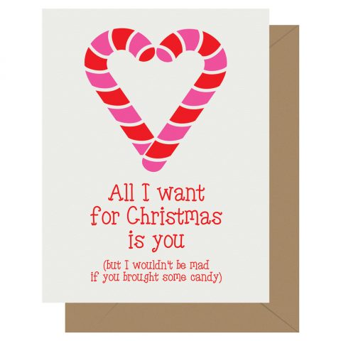All I want for Christmas is you holiday letterpress card from Letterpress Jess